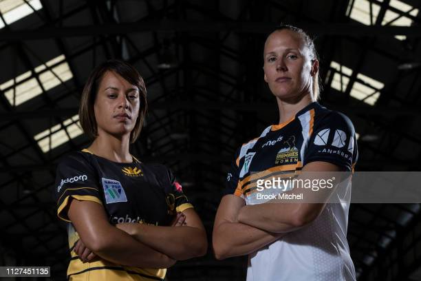 Rugby WA Mhicca Carter and ACT Brumbies Michelle Milward pose during the Super Rugby Super W Season Launch at Carriageworks on February 05 2019 in...
