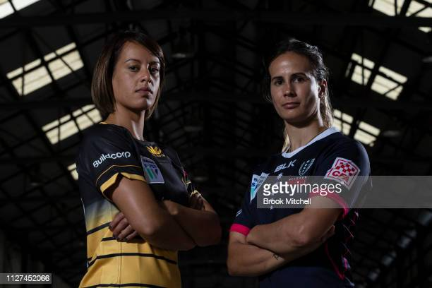 Rugby WA Mhicca Carter and Melbourne Rebels Meretiana Robinson pose during the Super Rugby Super W Season Launch at Carriageworks on February 05 2019...