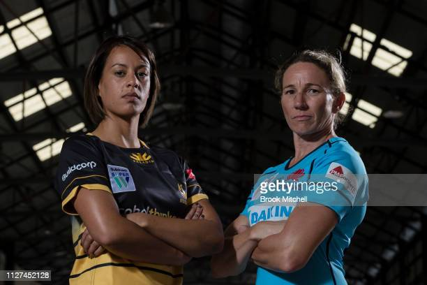 Rugby WA Mhicca Carter and the Waratahs Ashleigh Hewson pose during the Super Rugby Super W Season Launch at Carriageworks on February 05 2019 in...
