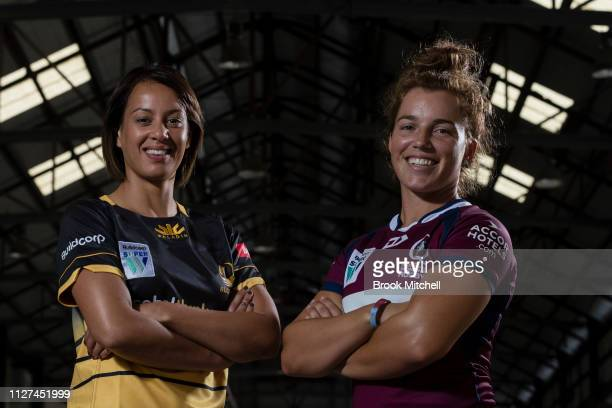 Rugby WA's Mhicca Carter and Queenslands Lori Cramer pose during the Super Rugby Super W Season Launch at Carriageworks on February 05 2019 in Sydney...