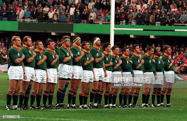 Rugby World Cup 1995 South Africa v France The South African team line up with Chester Williams the only black player