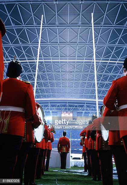 1/10/1999 Rugby World Cup 1999 Wales v Argentina The marching band walk out at the Millennium Stadium with the rugby posts visible