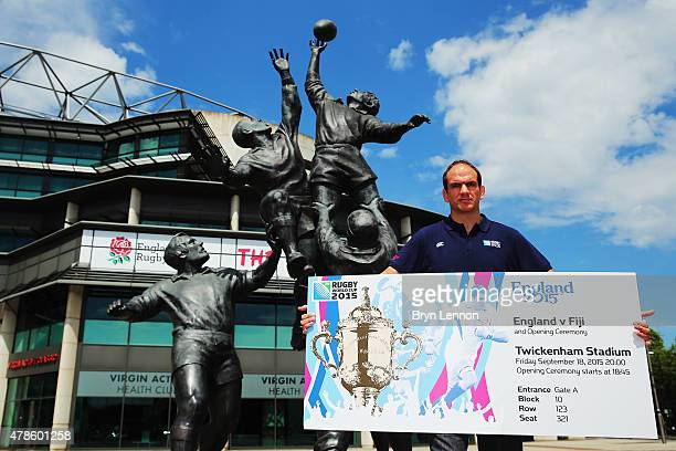 Rugby World Cup 2003 winning captain Martin Johnson shows off the ticket design for the Rugby World Cup 2015 at Twickenham Stadium on June 26 2015 in...
