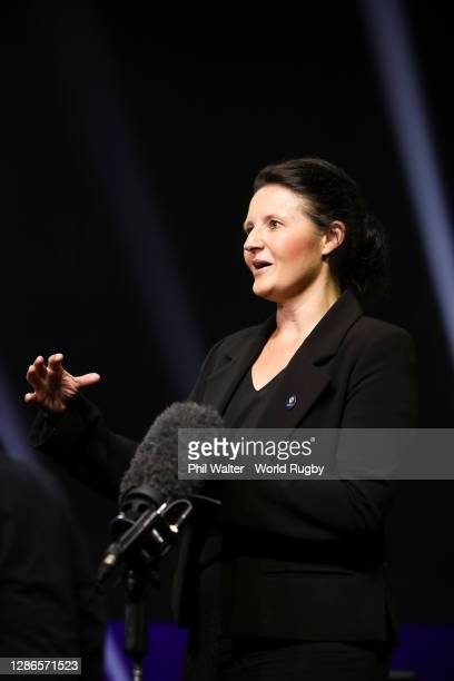 Rugby World Cup 2021 Tournament Director, Michelle Hooper, speaks to media during the Rugby World Cup 2021 Draw event at the SKYCITY Theatre on...