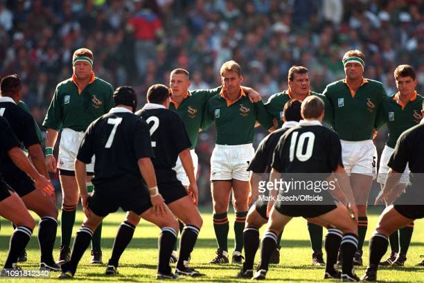 Rugby World Cup Final South Africa v New Zealand the South African team face up to the All Blacks haka