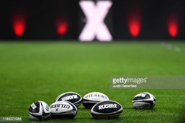 Rugby X balls during the Rugby X at The O2 Arena on October 29 2019 in London England