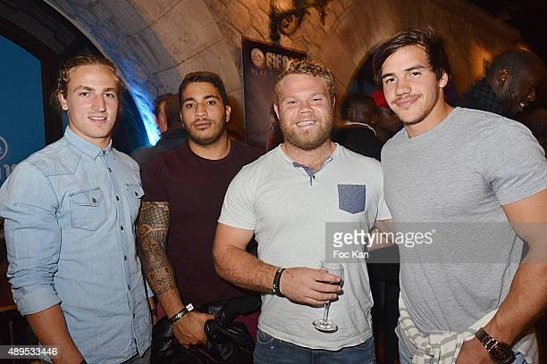 Rugbymen Cj Lotter Romain Carcagno Fuaga Akker van der Merwe and Sean Robinson attend the 'FIFA 16 Live Event' at the Faust Club on September 21 2015...