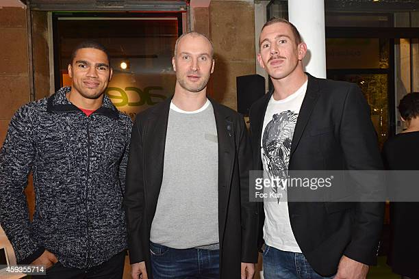 Rugbymen Daniel Narcisse, Thierry Omeyer and Imanol Harinordoquy attend the Acer Pop Up Store Launch Party at Les Halles on November 20, 2014 in...