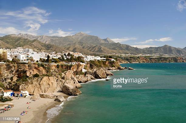 Rugged coastline in Nerja in Malaga, Spain