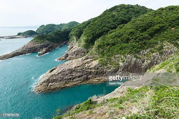 Rugged coastline, lush vegetation and sea, Japan
