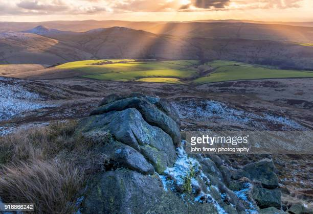 Rugged gritstone sunset. English Peak District. UK.