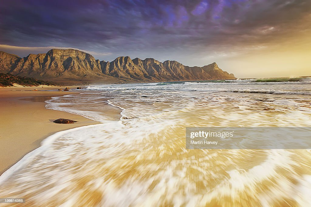 Rugged Kogelberg Mountains with dramatic clouds overhead. South Africa. : Stock Photo
