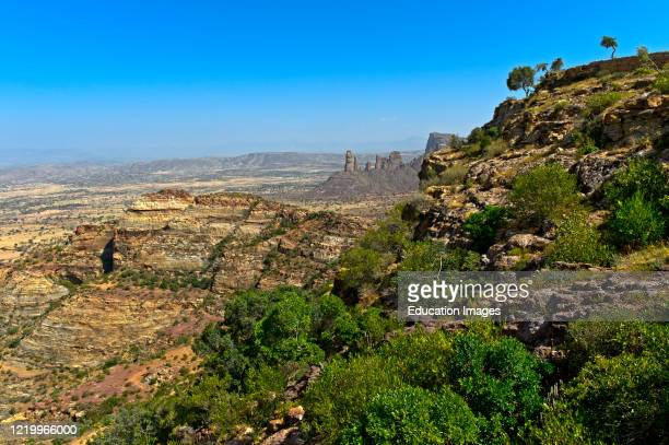 Rugged landscape of the Gheralta escarpment, northern part of the East African Rift Valley near Hazwien, Tigray, Ethiopia.
