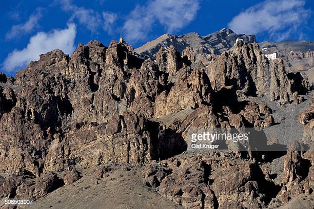 Rugged mountain scenery in Dhankar, Spiti Valley, Lahaul and Spiti district, Himachal Pradesh, Indian Himalayas, North India, India, Asia