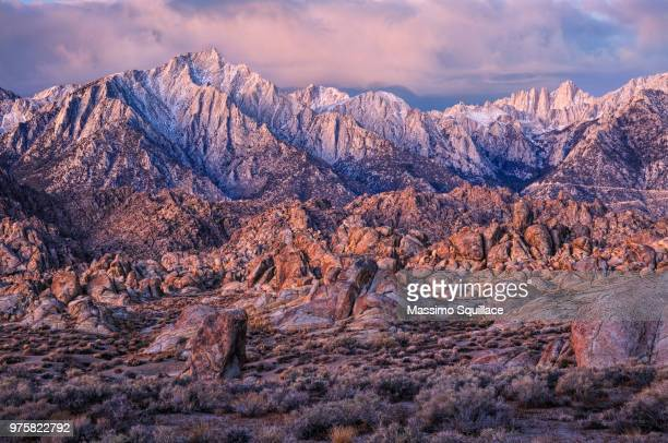Rugged ridge of Alabama Hills at dawn, Lone Pine, California, USA