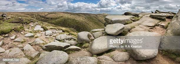 Rugged, rocky landscape on Kinder Scout, Peak District, Derbyshire