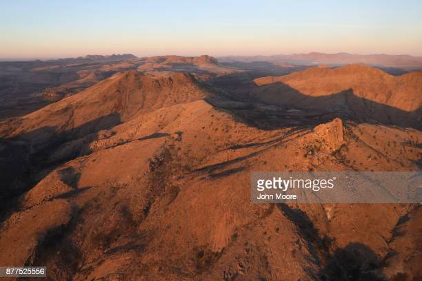 Rugged terrain stretches through the Big Bend area of west Texas as seen from a Customs and Border Protection helicopter on November 22 2017 near Van...