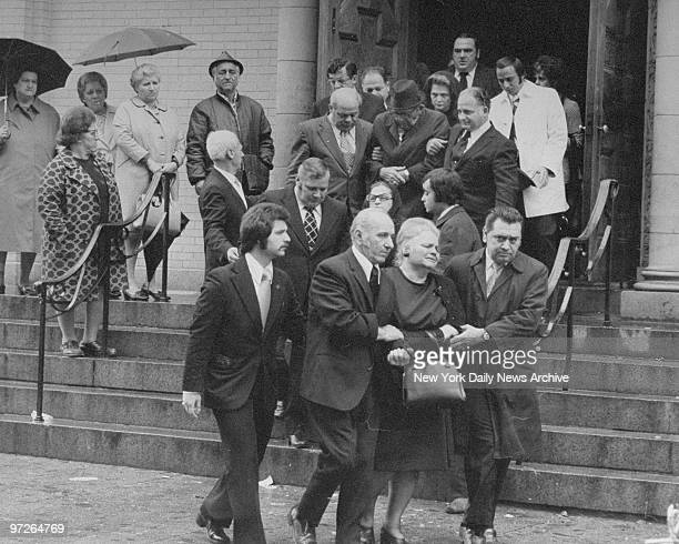 Ruggiero Boiardo leaving church after funeral services for Angelo Chieppa at St Lucy's Church Newark Newark NJ