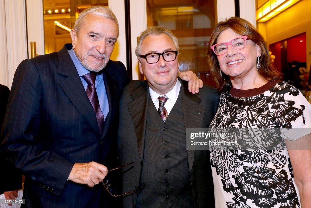 Ruggiero Raimondi, Jean-Marie Fournier and Isabelle Raimondi attend Salle Gaveau 105th Anniversary on April 24, 2013 in Paris, France.