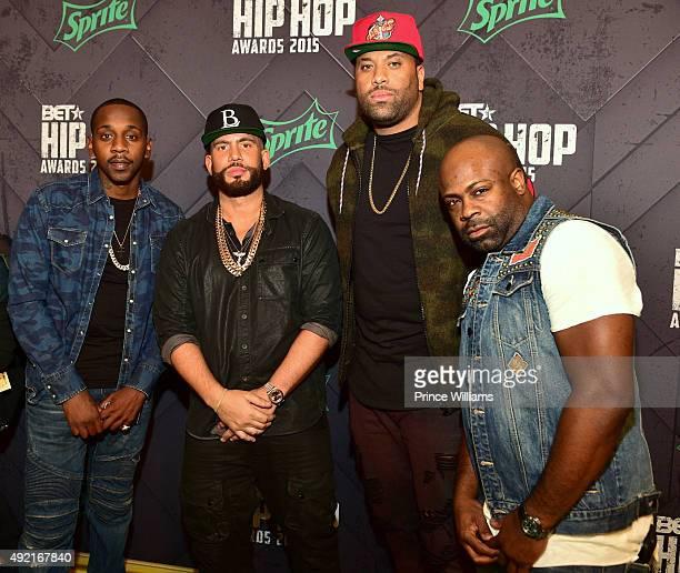 Ruggs DJ Drama Don Cannon and Breyon Prescott attend 2015 BET Hip Hop awards at Boisfeuillet Jones Atlanta Civic Center on October 9 2015 in Atlanta...