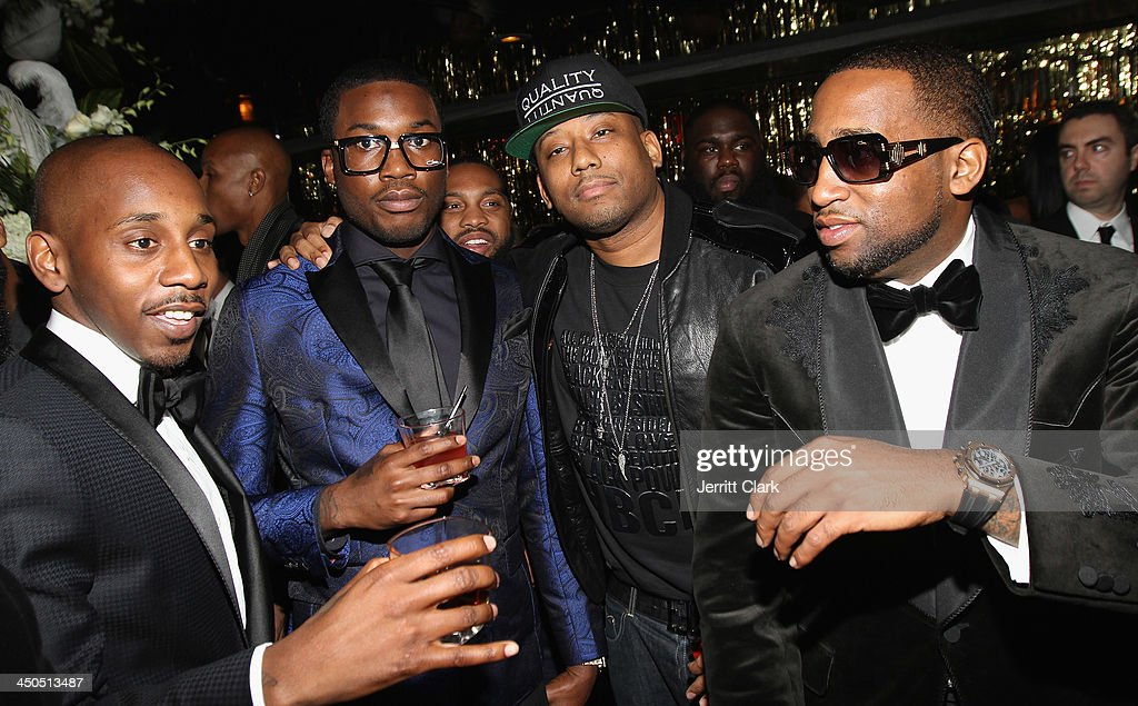 Ruggs, Meek Mill, Maino and Slow Bucks attend Fabolous' The Great Fabsby Birthday Celebration at Jazz Room at the General on November 18, 2013 in New York City.