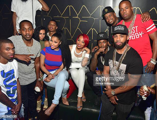 Ruggs Tracy T Nicki Minaj Monica Brown Meek Mill Chubbie Baby and Yo gotti attend the Pinkprint Tour after party at XS Lounge on August 2 2015 in...