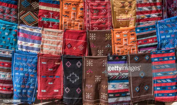 Rugs for sale in souk of medina, Marrakesh, Morocco