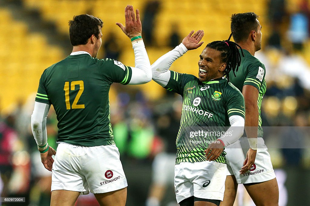 Ruhan Nel and Rosko Specman of South Africa celebrate the win in the Cup Final match between Fiji and South Africa during the 2017 Wellington Sevens at Westpac Stadium on January 29, 2017 in Wellington, New Zealand.