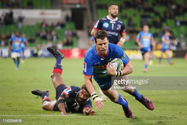 Ruhan Nel of the Stormers scores a try during the round nine Super Rugby match between the Rebels and the Stormers at AAMi Park on April 12 2019 in...