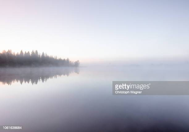 ruhiger morgen am see - horizon stock pictures, royalty-free photos & images