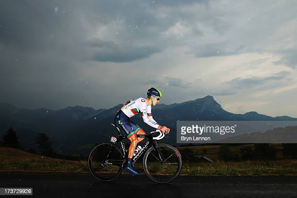 Rui Alberto Costa of Portugal and Movistar Team rides during stage seventeen of the 2013 Tour de France, a 32KM Individual Time Trial from Embrun to...