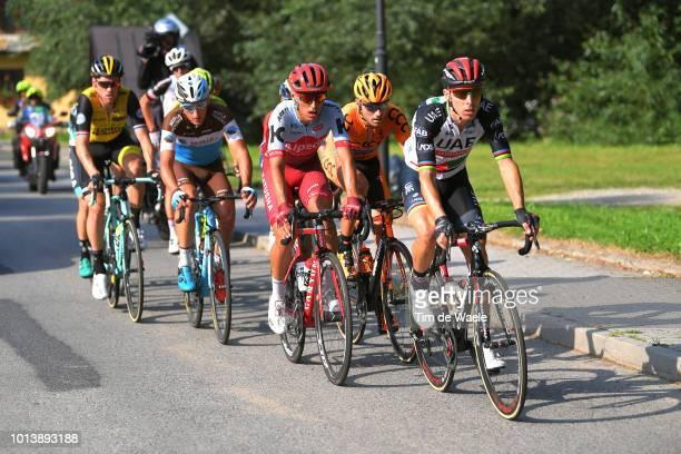 Rui Alberto Faria Da Costa of Portugal and Team Uae Team Emirates / Jhonatan Restrepo of Colombia and Team Katusha Alpecin / Lukasz Owsian of Poland...