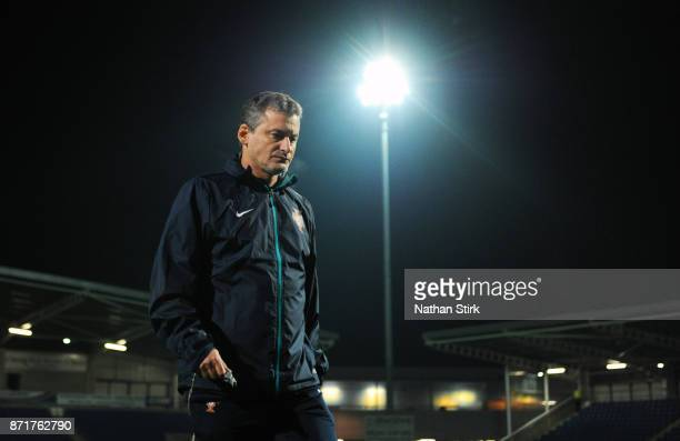 Rui Bento Head coach of Portugal 17s looks on before the International Match between England U17 and Portugal U17 at Proact Stadium on November 8...