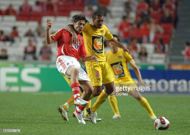 Rui Costa and Mercio in action at a Portugese Premiere League match between Benfica and Desportivo das Aves in Lisbon Portugal on October 2 2006