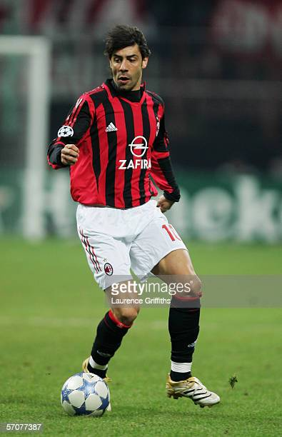 Rui Costa of AC Mila in action during the First KnockOut Round Second Leg match between AC Milan and Bayern Munich at the San Siro on March 8 2006 in...