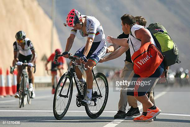 Rui Costa of Portugal and Lampre Merida crosses the finish line on stage four of the 2016 Tour of Oman a 177km road stage from Knowledge Oasis Muscat...