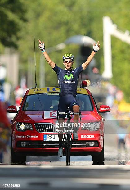 Rui Costa of Portugal and Movistar Team celebrates winning stage sixteen of the 2013 Tour de France, a 168KM road stage from Vaison-la-Romaine to...