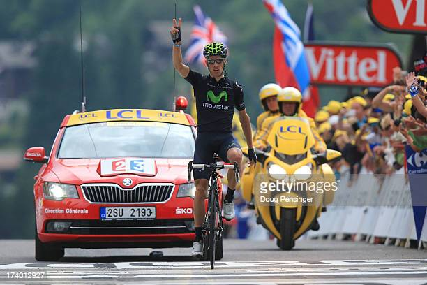 Rui Costa of Portugal and Movistar Team celebrates winning stage nineteen of the 2013 Tour de France, a 204.5KM road stage from Bourg d'Oisans to Le...