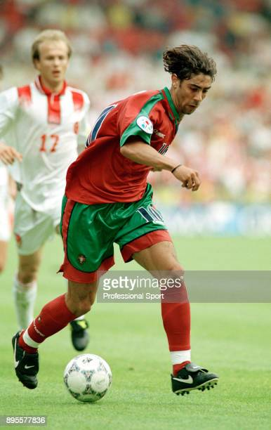 Rui Costa of Portugal in action during the UEFA Euro 96 group match between Portugal and Turkey at the City Ground on June 14 1996 in Nottingham...