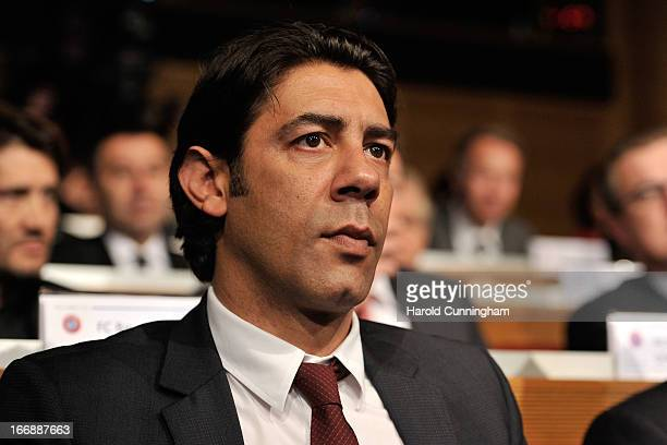 Rui Costa of SL Benfica looks on during the UEFA Champions League and UEFA Europa League semifinal and final draws at the UEFA headquarters on April...