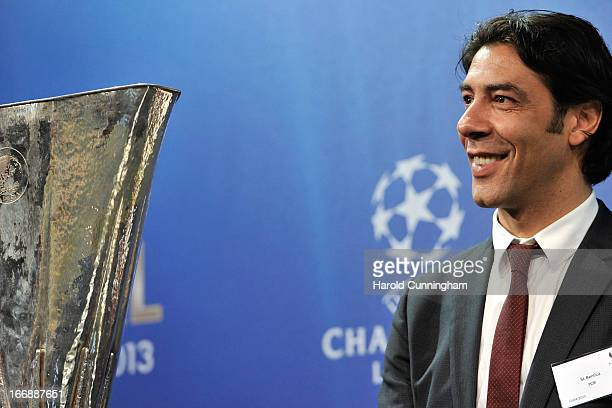 Rui Costa of SL Benfica looks on during the UEFA Europa League semifinal and final draw at the UEFA headquarters on April 12 2013 in Nyon Switzerland