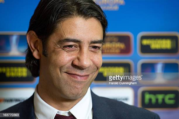 Rui Costa SL Benfica Club Director looks on after the UEFA Europa League quarter finals draw at the UEFA headquarters on March 15 2013 in Nyon...