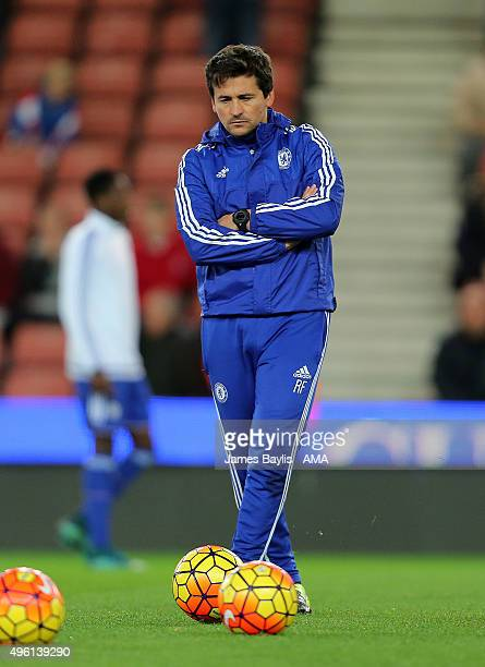 Rui Faria assistant first team coach of Chelsea during the Barclays Premier League match between Stoke City and Chelsea at Britannia Stadium on...