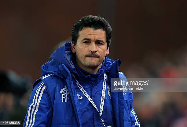 Rui Faria assistant first team coach of Chelsea looks on during the Barclays Premier League match between Stoke City and Chelsea at Britannia Stadium...