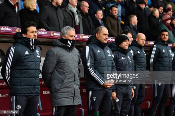 Rui Faria Assistant Manager of Manchester United Jose Mourinho Manager of Manchester United and the Manchester United staff looks on from the dugout...