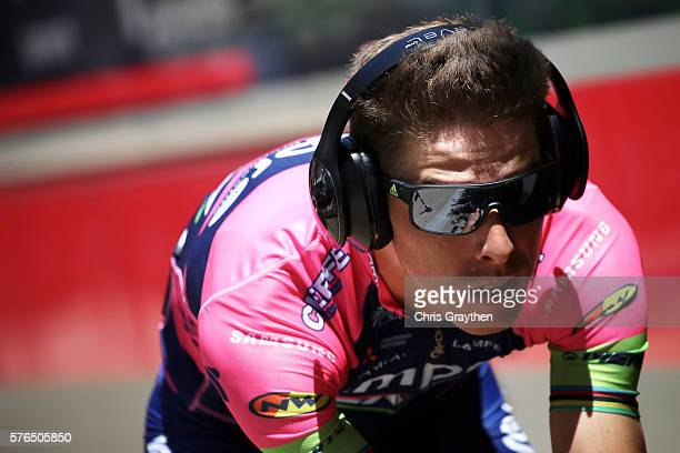 Rui Faria Da Costa of Portugal riding for Lampre-Merida prepares to ride during the stage thirteen individual time trial, a 37.5km stage from...