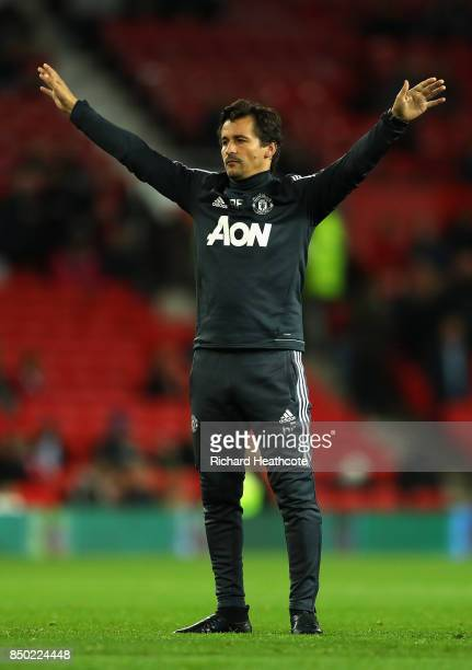 Rui Faria Manchester United assistant manager gestures to team prior to the Carabao Cup Third Round match between Manchester United and Burton Albion...