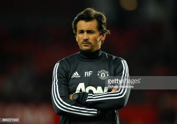 Rui Faria Manchester United assistant manager looks on prior to the Carabao Cup Third Round match between Manchester United and Burton Albion at Old...