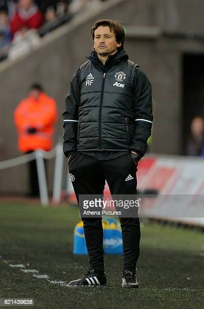 Rui Faria of Manchester United who replaced manager Jose Mourinho on the touch line during the Premier League match between Swansea City and...