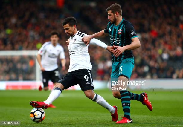Rui Fonte of Fulham and Jack Stephens of Southampton during the The Emirates FA Cup Third Round match between Fulham and Southampton at Craven...